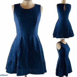 AS U WISH NAVY BLUE FIT & FLARE DRESS